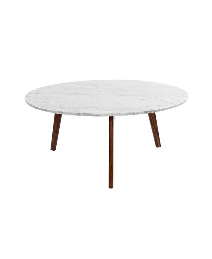 """Cenports - Stella 31"""" Round White Marble Coffee Table with Oak Legs"""