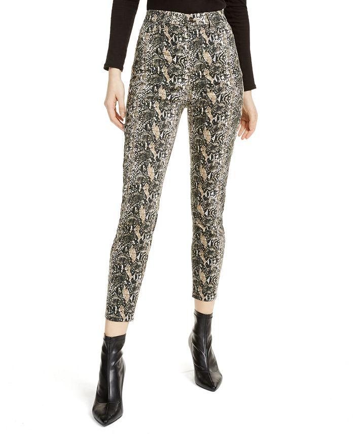 Vanilla Star - Juniors' Snakeskin Print High-Rise Jeans