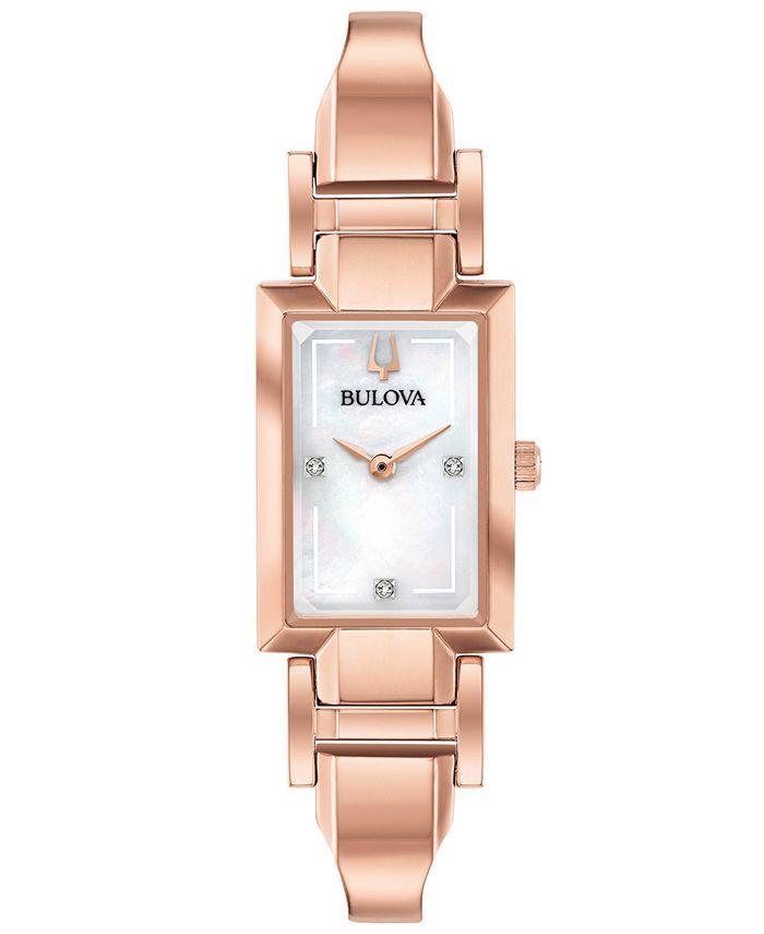 Bulova - Women's Diamond-Accent Rose Gold-Tone Stainless Steel Bangle Bracelet Watch 18x33mm