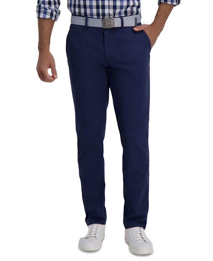 Haggar - Men's Slim-Fit Motion Khaki Straight Flex Waistband Casual Pants