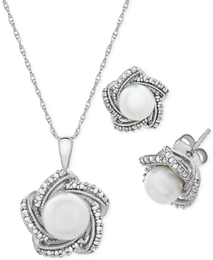 Macy's 2-Pc. Set Cultured Freshwater Pearl (6 & 7mm) & Diamond Accent Pendant Necklace & Matching Stud Earrings in Sterling Silver & Reviews - Jewelry & Watches - Macy's