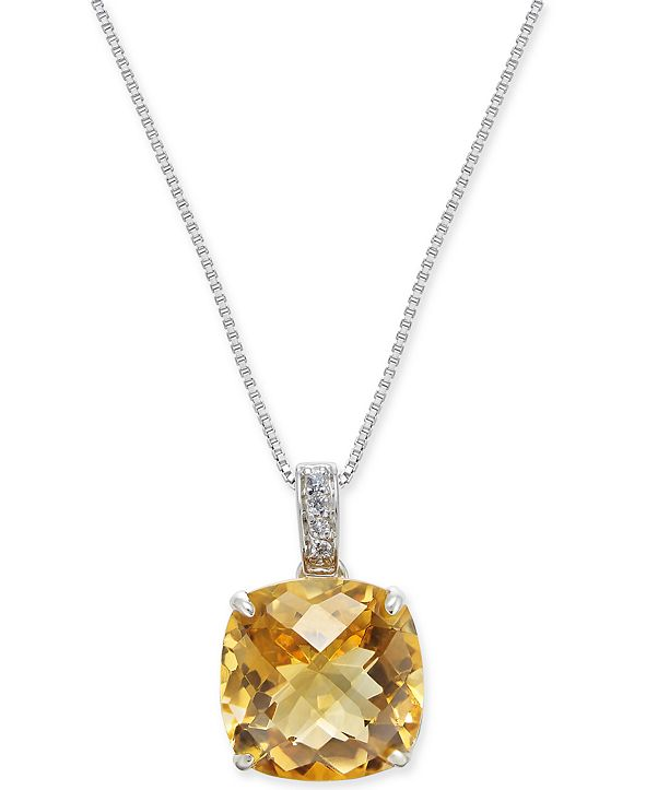 "Macy's Citrine (1-3/8 ct. t.w.) & Diamond (1/20 ct. t.w.) 18"" Pendant Necklace in Sterling Silver"