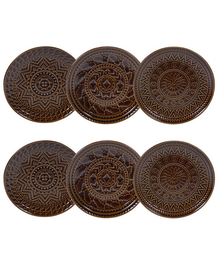 Certified International - Aztec Brown 6-Pc. Canape Plates