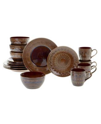 Aztec Brown 16pc Dinnerware Set
