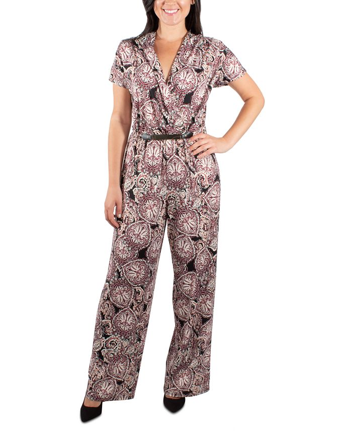 NY Collection - Pleated Front Belted Jumpsuit