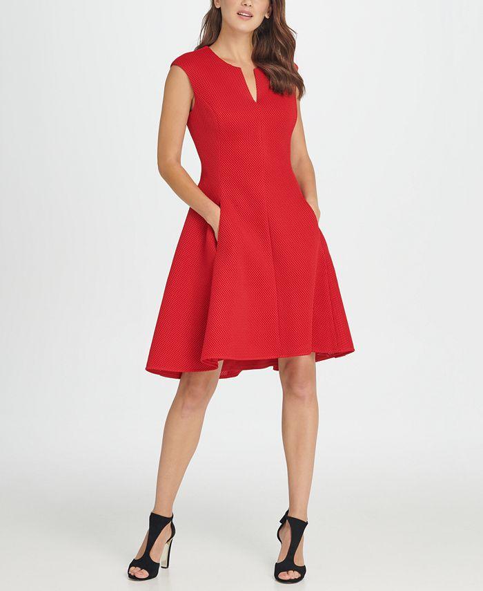 DKNY - Notch Neck Fit & Flare Mesh Dress