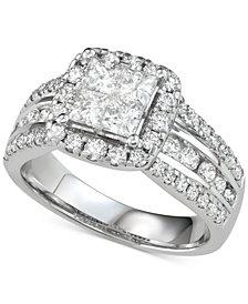 Diamond Princess Three Row Engagement Ring (2 ct. t.w.) in 14k White Gold