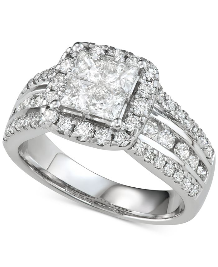 Macy's - Diamond Princess Three Row Engagement Ring (2 ct. t.w.) in 14k White Gold