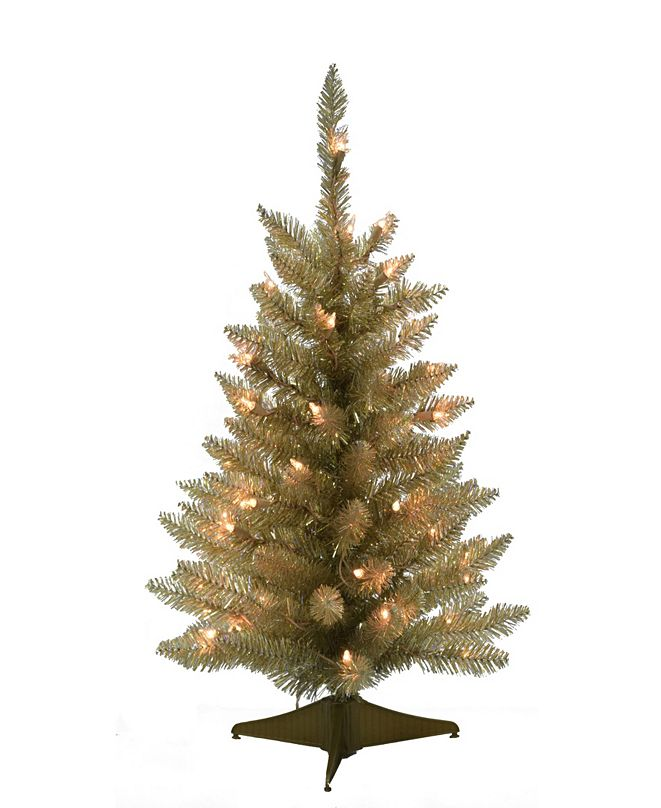 Perfect Holiday 2' Pre-lit Champagne Table Top Christmas Tree