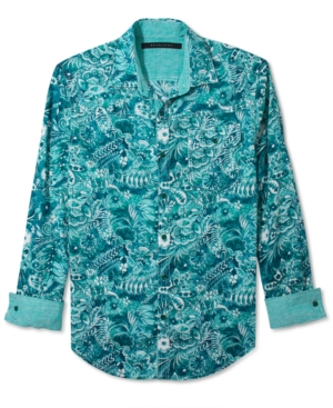 Sean John Shirt Tropical Linen Long Sleeve Shirt