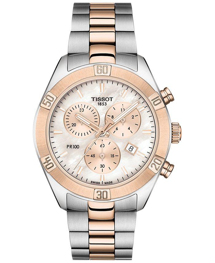 Tissot - Women's Swiss Chronograph T-Classic PR 100 Two-Tone PVD Stainless Steel Bracelet Watch 38mm