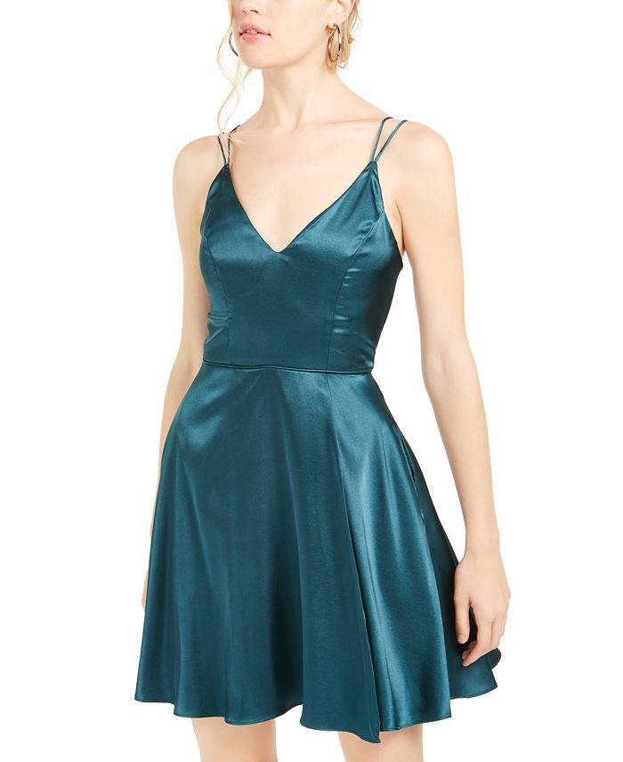 Sequin Hearts - Juniors' V-Neck Fit & Flare Dress