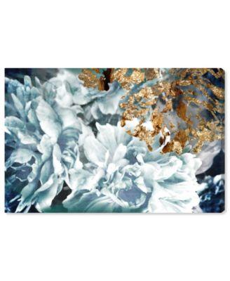 Dos Gardenias Light Turquoise Canvas Art, 36