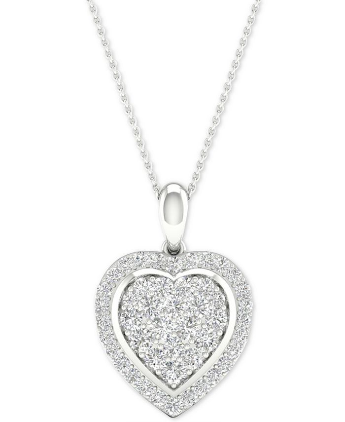 "Macy's - Diamond Heart Cluster Pendant Necklace (1/2 ct. t.w.) in Sterling Silver, 16"" + 2"" extender"