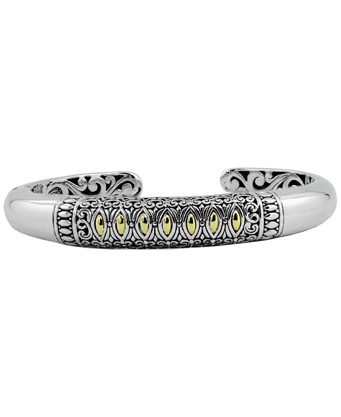 DEVATA - Bali Heritage Classic Cuff Bracelet in Sterling Silver and 18k Yellow Gold Accents
