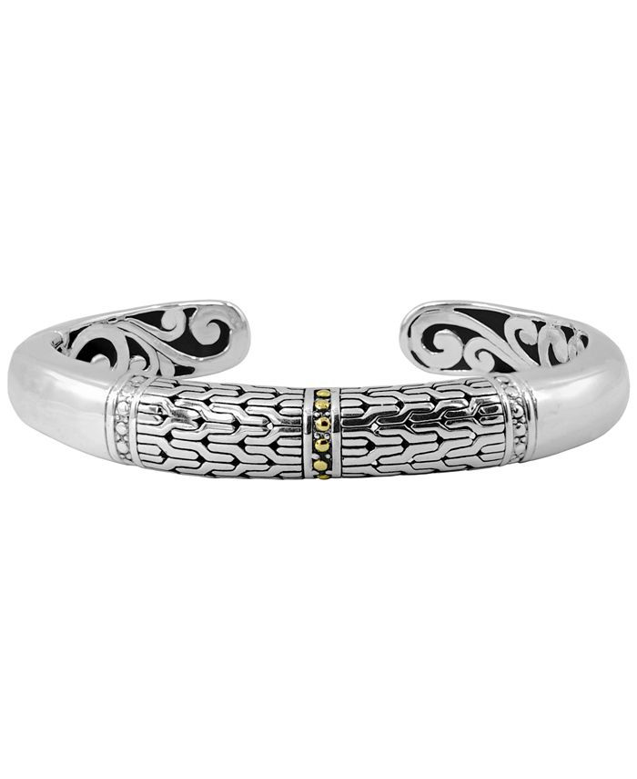DEVATA - Bali Heritage Signature Cuff Bracelet in Sterling Silver and 18k Yellow Gold Accents