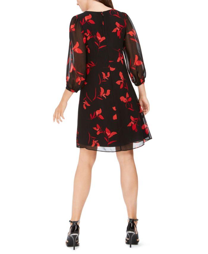 Calvin Klein Petite Floral-Print Pleated Chiffon Dress & Reviews - Dresses - Petites - Macy's