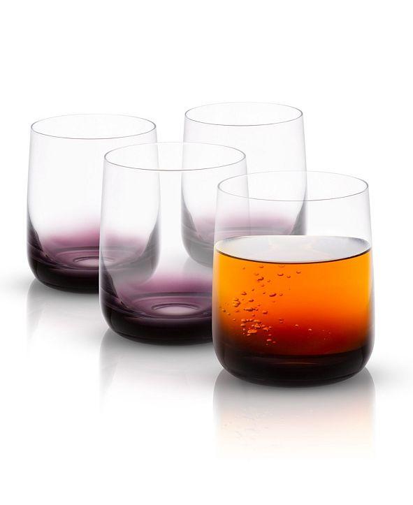 JoyJolt Black Swan Double Old Fashion Whiskey Glasses Set of 4