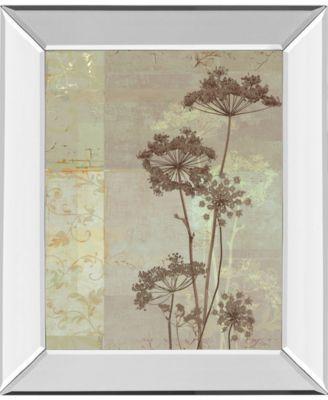 """Silver Foliage I by Ella K. Mirror Framed Print Wall Art, 22"""" x 26"""""""