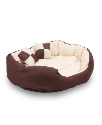 Durable Bolster Sleeper Oval Pet Bed with Removable Reversible Insert Cushion and Additional Two Pillow, 43