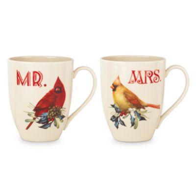 Winter Greeting 2-piece Mr & Mrs Mug Set
