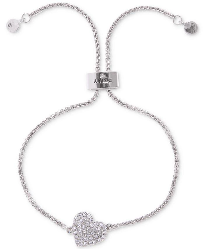 DKNY - Silver-Tone Crystal Heart Slider Bracelet