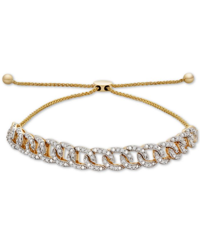 Wrapped in Love Diamond Chain Link Bolo Bracelet (1/4 ct. t.w.) in 10k Gold, Created for Macy's & Reviews - Bracelets - Jewelry & Watches - Macy's