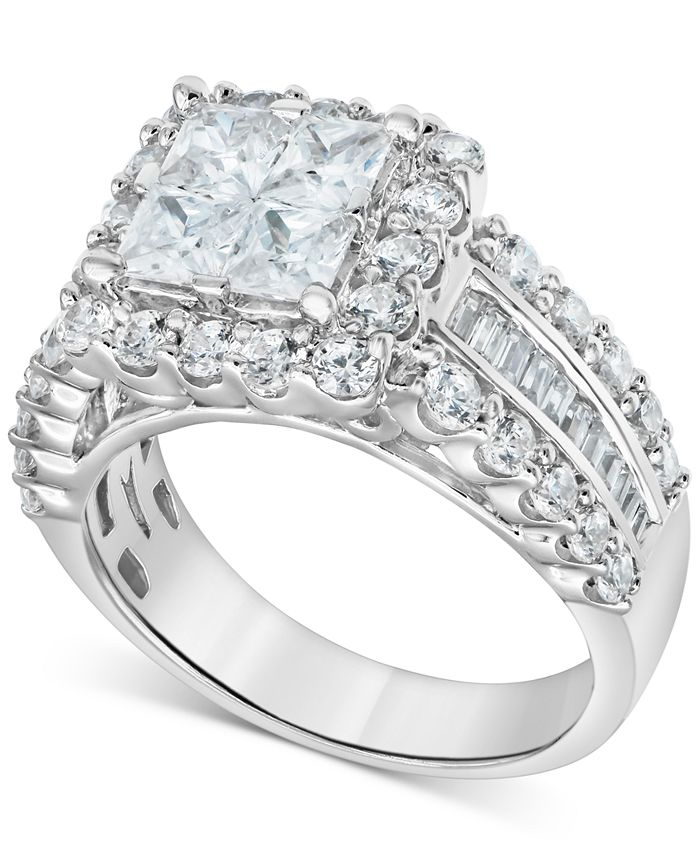 Macy's - Diamond Princess Quad Cluster Engagement Ring (1-3/4 ct. t.w.) in 14k White gold