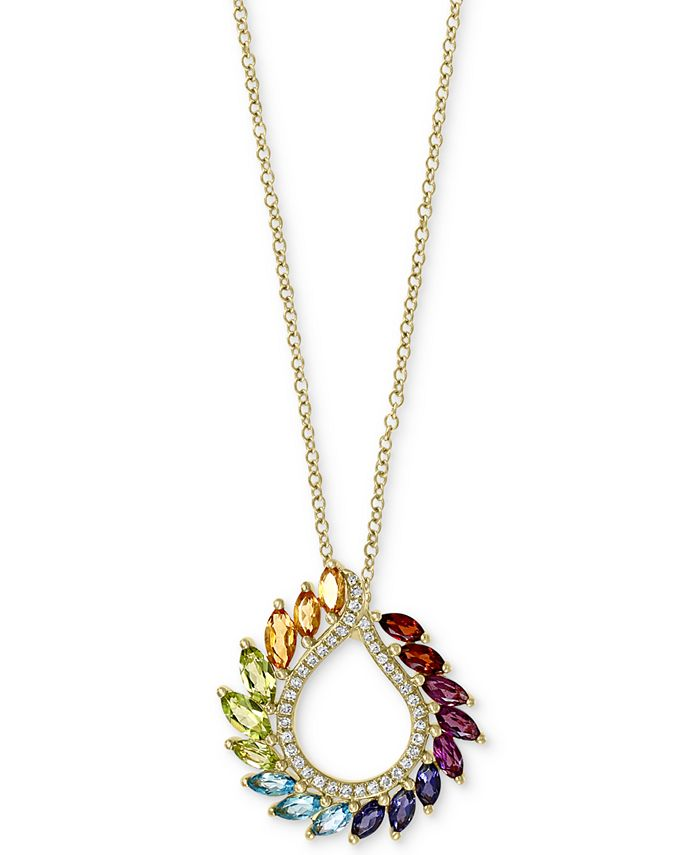 """EFFY Collection - Multi-Gemstone (1-3/8 ct. t.w.) & Diamond (1/8 ct. t.w.) 18"""" Pendant Necklace in 14k Gold"""