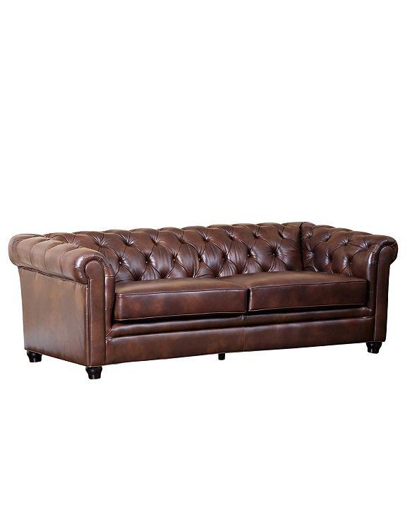 """Furniture Zoe 86"""" Leather Sofa"""