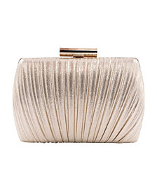 La Regale Shimmer Metallic Peacock Pleat Minaudiere