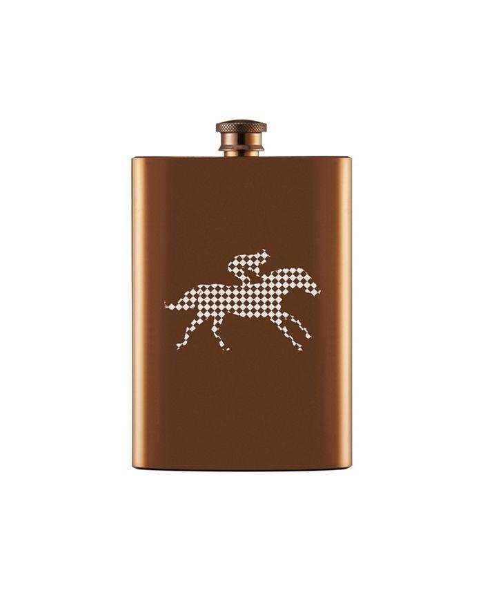 Thirstystone - 8 oz Copper Flask with Horse Jockey Checkprint