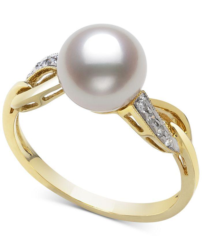 Belle de Mer - Cultured Freshwater Pearl (8mm) & Diamond (1/20 ct. t.w.) Ring in 14k Gold