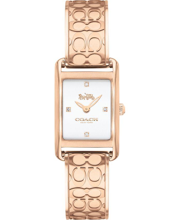 COACH - Women's Allie Rose Gold-Tone Bangle Bracelet Watch 19x22mm