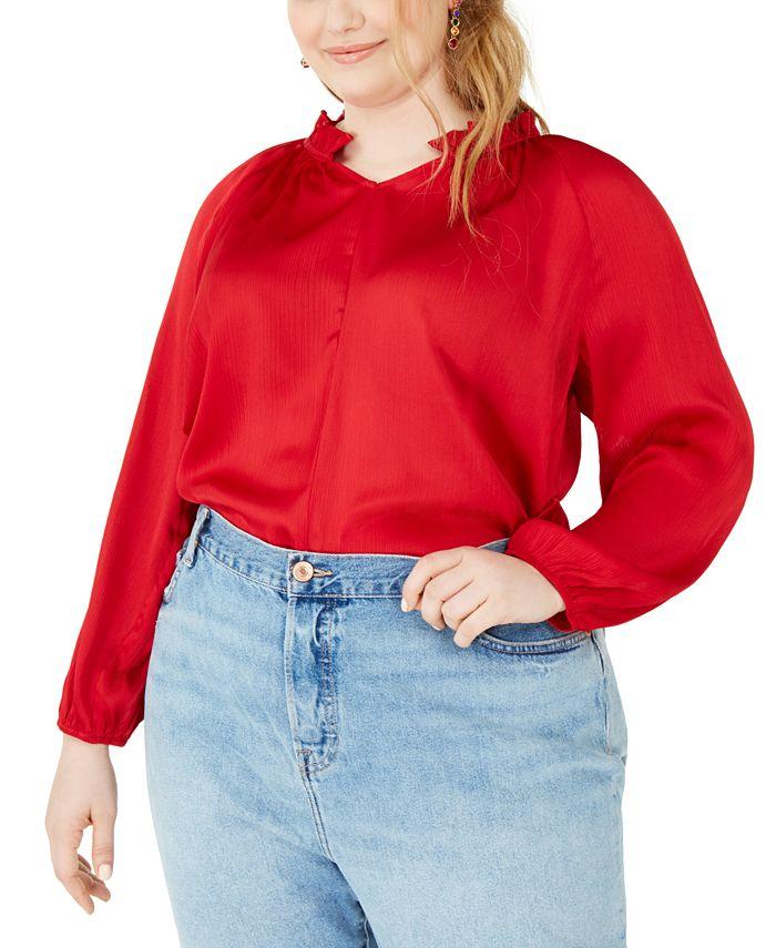 NY Collection - Plus Size Mandarin Collar Blouse