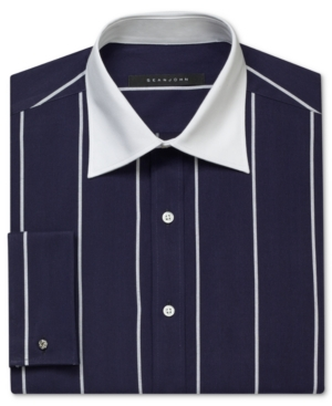 Sean John Dress Shirt Navy with White Stripe Long Sleeve Shirt with French Cuff