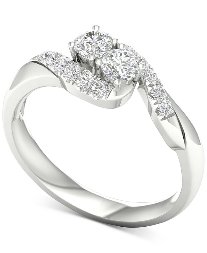 Macy's - Diamond Curve Statement Ring (1/2 ct. t.w.) in 14k White Gold