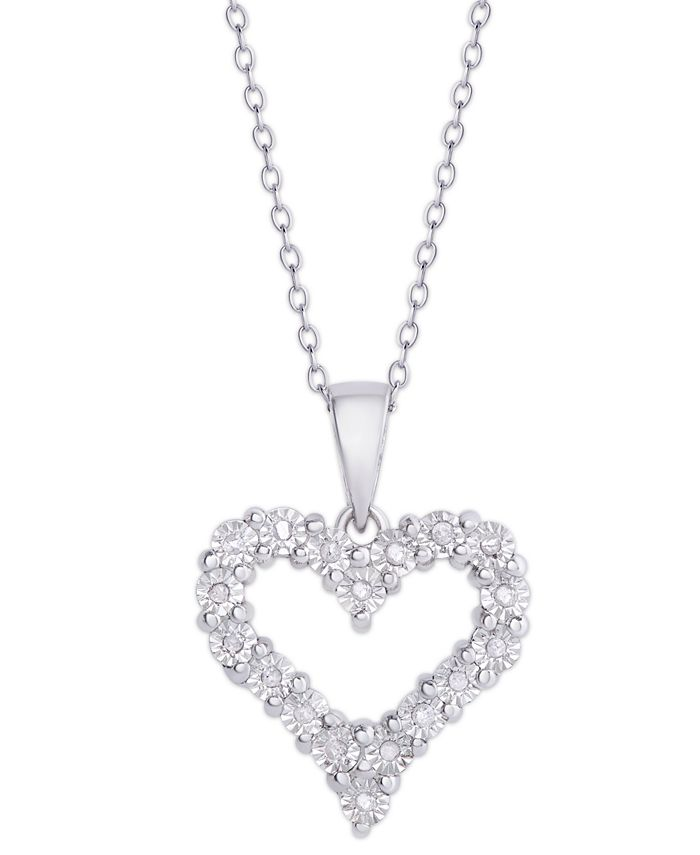 Macy's - Diamond (1/10 ct. t.w.) Heart Miracle Plate Pendant Necklace in Sterling Silver