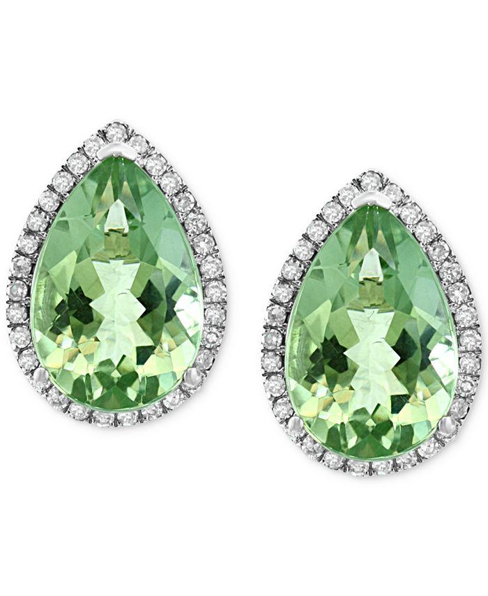 EFFY Collection - Green Amethyst (5-7/8 ct. t.w.) & Diamond (1/3 ct. t.w.) Stud Earrings in 14k White Gold