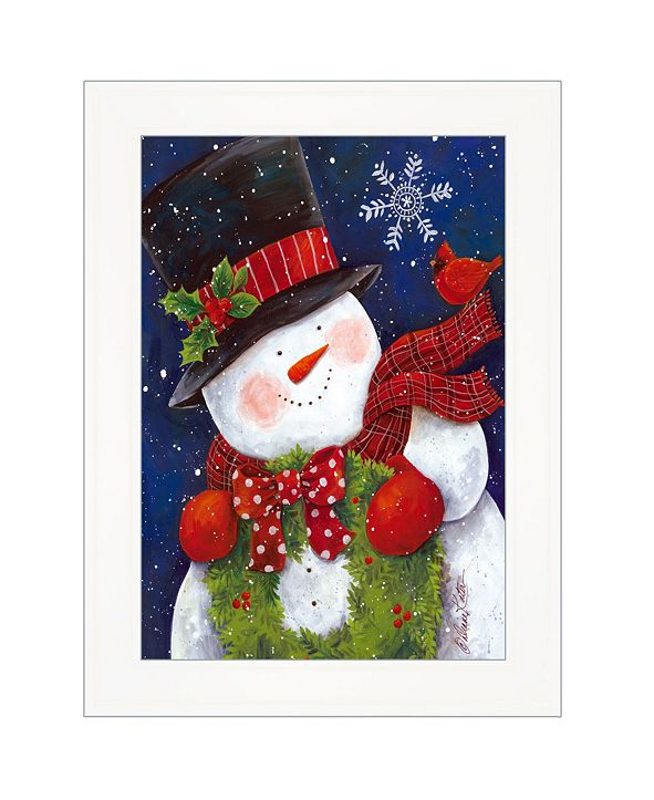 "Trendy Decor 4U Cheery Snowman by Diane Kater, Ready to hang Framed Print, White Frame with Iron Easel, 11"" x 16"""