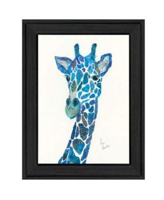 Blue Giraffe by Lisa Morales, Ready to hang Framed Print, White Frame, 15