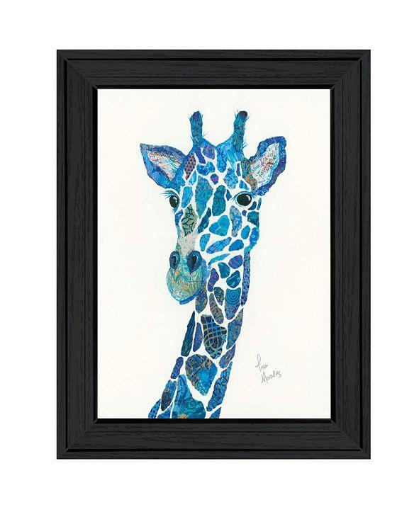 "Trendy Decor 4U Blue Giraffe by Lisa Morales, Ready to hang Framed Print, Black Frame, 15"" x 19"""