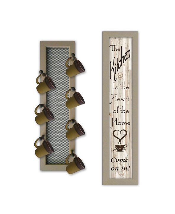 """Trendy Decor 4U Come On In 2-Piece Vignette with 7-Peg Mug Rack by Millwork Engineering, Taupe Frame, 7"""" x 32"""""""