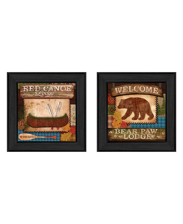 """Trendy Decor 4U Lodge II Collection By Mollie B., Printed Wall Art, Ready to hang, Black Frame, 14"""" x 14"""""""
