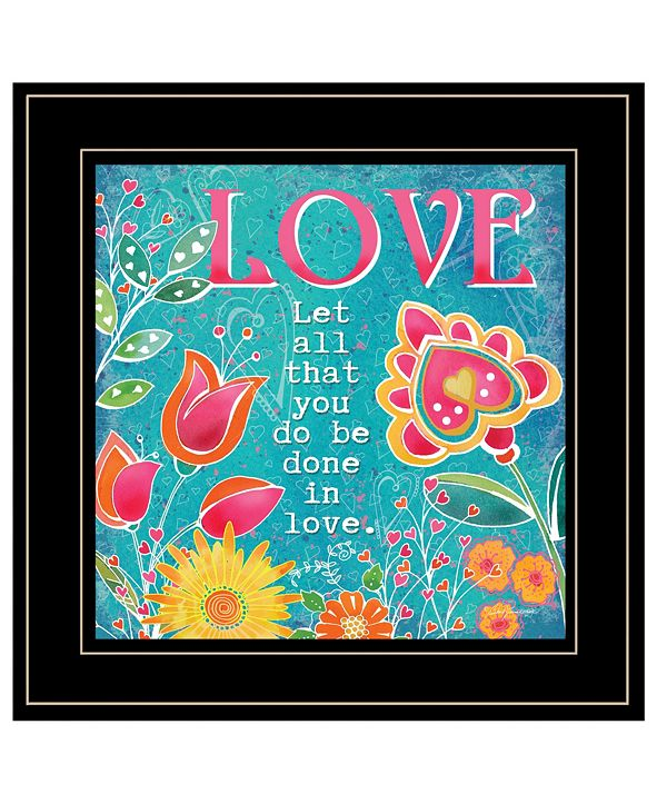 "Trendy Decor 4U Love by Barb Tourtillotte, Ready to hang Framed Print, Black Frame, 15"" x 15"""