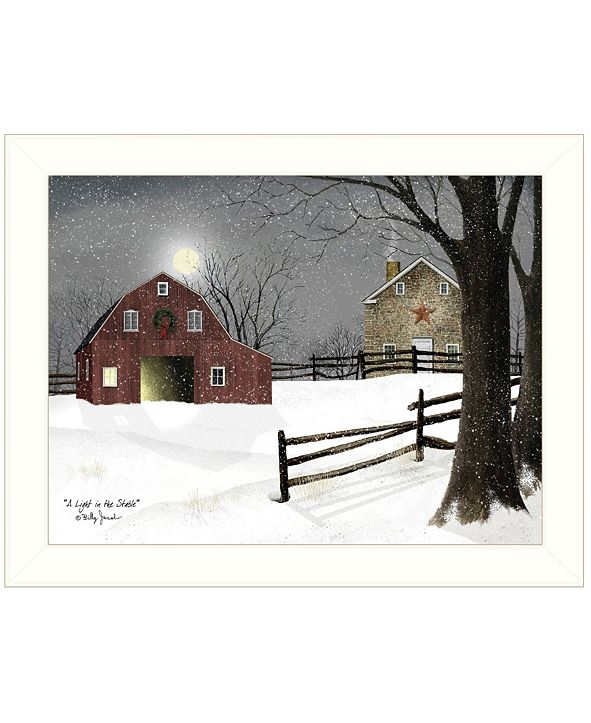"Trendy Decor 4U Light in the Stable by Billy Jacobs, Ready to hang Framed Print, White Frame, 18"" x 14"""