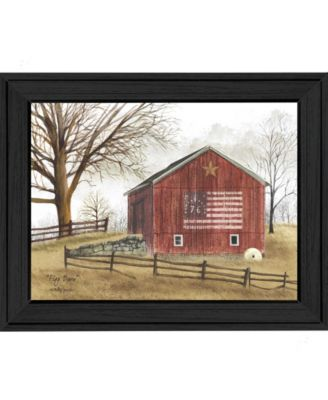 Flag Barn By Billy Jacobs, Printed Wall Art, Ready to hang, Black Frame, 14