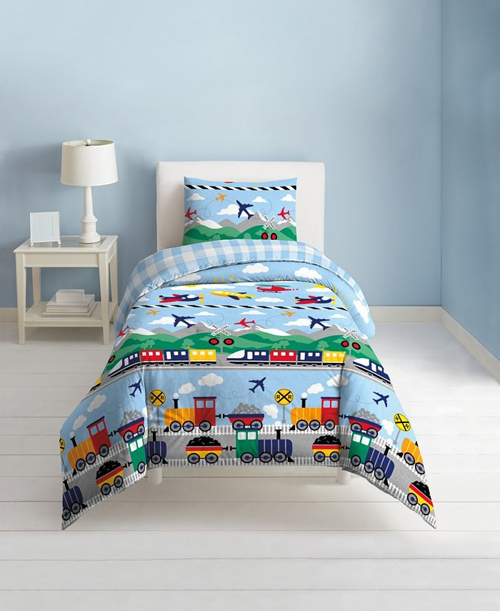 Dream Factory - Trains And Planes 2-Piece Twin Comforter Set