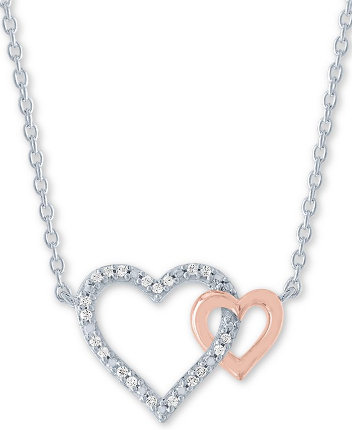"Macy's - Diamond Accent Double Heart 18"" Pendant Necklace in Sterling Silver & 14k Rose Gold-Plate"