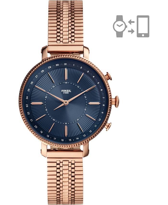 Fossil - Women's Cameron Rose Gold-Tone Stainless Steel Mesh Bracelet Hybrid Smart Watch 36mm